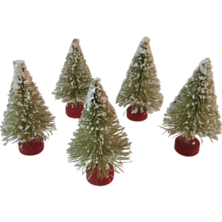 5 Flocked Christmas Bottle Brush Trees Red Wood Base and Snow