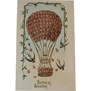 German Hot Air Balloon with Pink Roses Blue Birds Embossed Birthday Postcard ASB Arthur Schurer & Co Berlin Germany