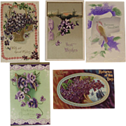 5 Embossed German Violets Birthday Postcards Good Wishes