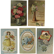 5 Embossed German Floral Birthday Postcards Flowers International Art Publishing Co Lilacs
