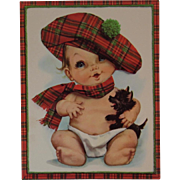 1950s Embossed Oversized Scottie Dog & Baby Get Well Card Unused with Envelope Tam O Shanter Scottish Scot Tartan Puppy
