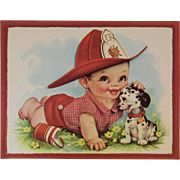 1950s Embossed Oversized Fireman Baby and Dalmation Puppy Dog Greeting Card Unused with Envelope