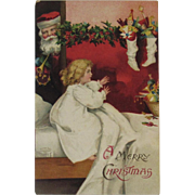 1908 German Santa and Little Girl Postcard International Art Publishing Co IAP Germany Embossed
