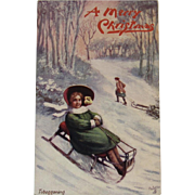 Tuck's Oilette Tobogganing Christmas Postcard Merry Winter Series