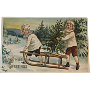 German Embossed Christmas Postcard with Children and Tree on Sled Sledding Germany