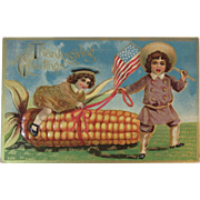 Embossed Patriotic Thanksgiving Postcard Embossed Edwardian American Flag Children and Ear of Corn