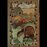 1909 MW Taggart Thanksgiving Embossed Postcard Turkey Pumpkins Corn and Autumn Farm Scene
