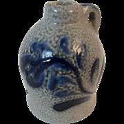 Dollhouse Miniature Eldreth Pottery Salt Glazed Glaze Jug or Crock with Blue Decoration