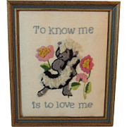 Skunk Needlework Picture in Frame