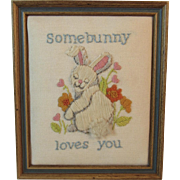 Bunny Needlework Picture in Frame