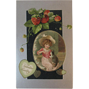 1908 Girl with Kitty Cat German Valentine Postcard Embossed Germany