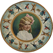 1907 Tin Litho Girl and Bears Plate form Union Pacific Tea Company Polar Bears Kids and Snowmen Throwing Snowballs