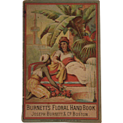 1880 Burnett's Floral Hand Book Victorian Advertising Booklet Cocoaine, Extracts, Cologne and Cure Alls with Exotic Middle Eastern Cover