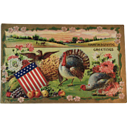 c1910 German Thanksgiving Postcard with Patriotic Theme Eagle American Flag Shield Flowers and Turkeys Embossed Germany Autumn Colors