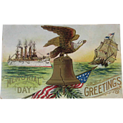 US Navy Battleship Memorial Day Embossed Postcard Unused with The USS Maine Pre WWI or Spanish American War Era American Eagle and Liberty Bell