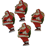4 Santa Advertising Ornaments from York National Bank and Trust Company Pennsylvania Vintage Christmas Club