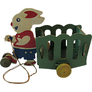 1940s Easter Bunny Candy Container Cart Pull Toy