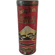 Sunshine Ginger Wafers Tin from the Loose-Wiles Biscuit Company Volcano Asian Motif Loose Wiles