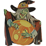 Dennison Halloween Witch Carving Jack o Lantern Vintage Die Cut Cardboard Decoration