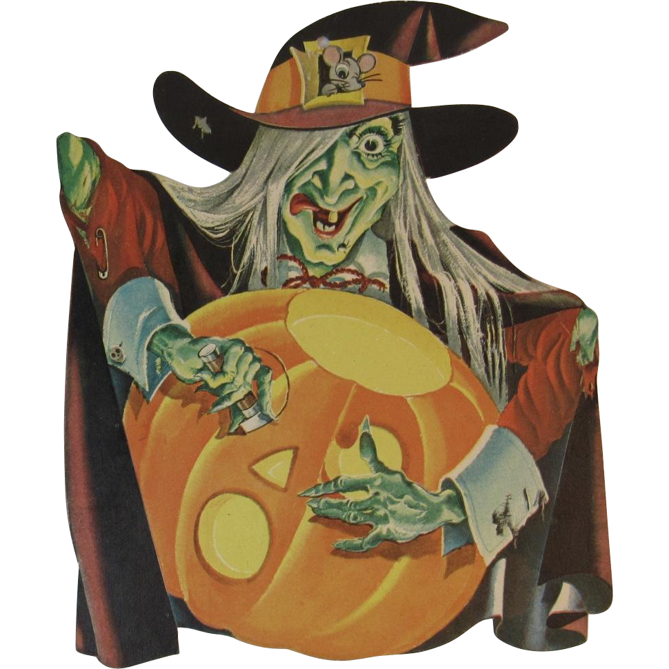 Dennison Halloween Witch Carving Jack o Lantern Vintage Die Cut Cardboard Decoration
