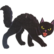 Dennison Halloween Black Cat Snarling with Fangs Vintage Die Cut Cardboard Decoration - Red Tag Sale Item