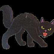 Dennison Halloween Black Cat Snarling with Fangs Vintage Die Cut Cardboard Decoration