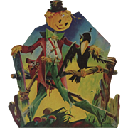 Dennison Halloween Scarecrow and Crow Vintage Die Cut Cardboard Decoration