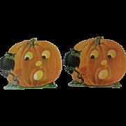 Pair of Dennison Halloween Owl Pumpkins Jack O Lanterns Vintage Die Cut Cardboard Decorations