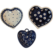 3 Polish Pottery Heart Dishes Folk Art Tableware