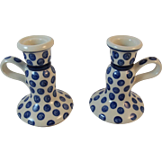 Polish Pottery Candle Holders Candlesticks Tableware Blue and White Polka Dot Pattern