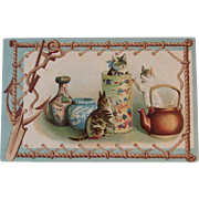 Embossed Cats in Vases with Tea Kettle Postcard Unused Nautical Border Victorian