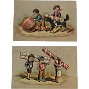Peppermint Candy Stick & Jawbreaker Victorian Trade Cards with Dog, Chef and Children