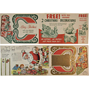 2 Litho Press Out Santa and Sleigh from Post Cereals Premium Unused Vintage Christmas Decorations