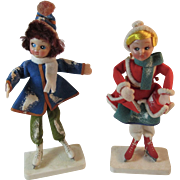 Vintage Christmas Ice Skaters in Felt Clothes on Stands