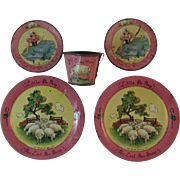 Little Bo Peep Tin Litho Ohio Art Toy Child Dishes