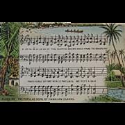 Aloha Oe Music and Lyrics Postcard Hawaiian Islands Song Hawaiiana by The Island Curio Co of Honolulu Hawaii 1926