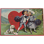 Antique German Embossed Sweetheart Postcard Children with Dog Valentine Series Germany