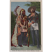 Buffalo Bill and Sitting Bull Postcard Unused Mrs. Johnny Baker