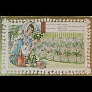 Mary Mary Quite Contrary Postcard Nursery Rhyme Embossed Unused