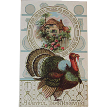 A Joyful Thanksgiving Postcard Tom Turkey and Cottage with Pink Roses Embossed