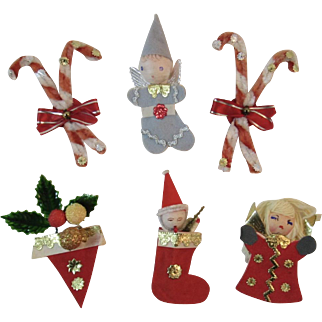 6 Christmas Ornaments or Decorations for Package of Garland Japan Chenille Candy Cane Spun Cotton and Felt Angels Santa in Stocking