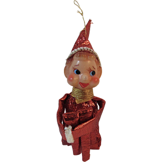 Sparkly Red Knee Hugger Elf Ornament Vintage Christmas