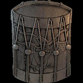 Patriotic Drum Wall Hanging Eagle and Shield E Pluribus Unum Metal Art Pewter