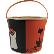 Loft's Halloween Candy Container Bucket Trick or Treat Black Cat Ghost Pumpkins Witch on Broomstick Lily Nestrite Container Lily-Tulip Candies Advertising Jack O Lantern
