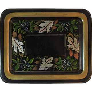 Vintage Stencilled Tole Tray Autumn Leaves Stencil Leaf and Flowers Gold Border Tin