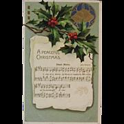 German Christmas Carol Adeste Fideles Music and Lyrics Embossed Christmas Postcard Germany