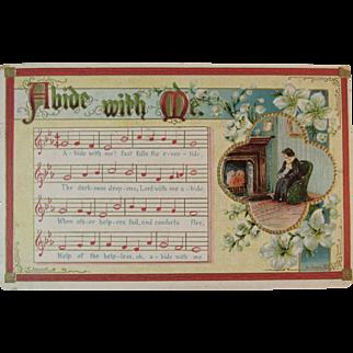 1909 German Abide With Me Music and Lyrics Postcard Embossed Printed in Germany