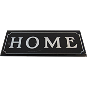 Reverse Painted Glass Black and Silver Home Sign