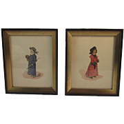 Pair of Edwardian Children in Winter Coats Prints Dog, Umbrella and Muff