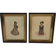 Pair of Prints Edwardian Children in Winter Coats with Fur Muffs